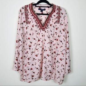 Denim 24/7 Pink Floral Blouse Size 16W